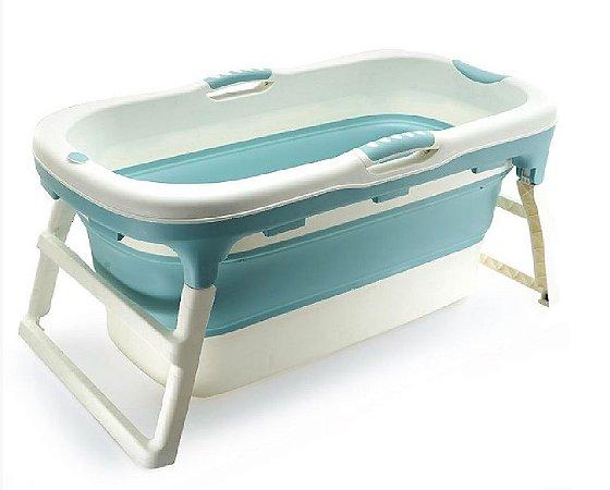 Banheira Grande Adulto Azul Dobrável com Plug Térmico Babypil - BNGA