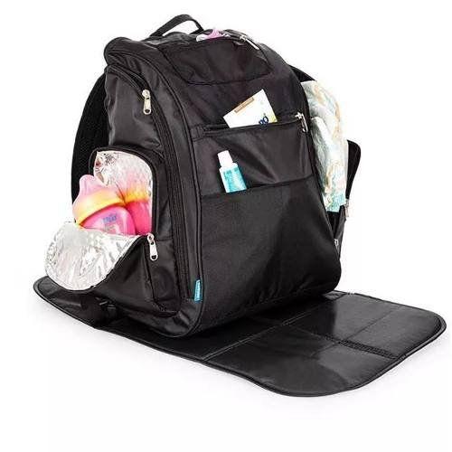 Mochila Backpack Preta com Trocador Kababy - 16103P