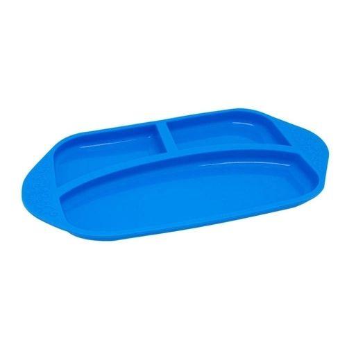 Prato Com Divisória  Em  Silicone Hipopótamo Azul - MNMKD06-HP