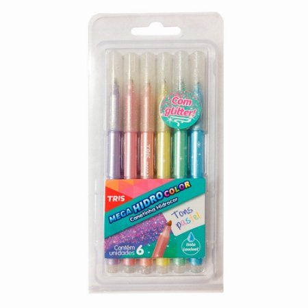 Caneta Mega Hidrocolor - Tons Patéis com Glitter
