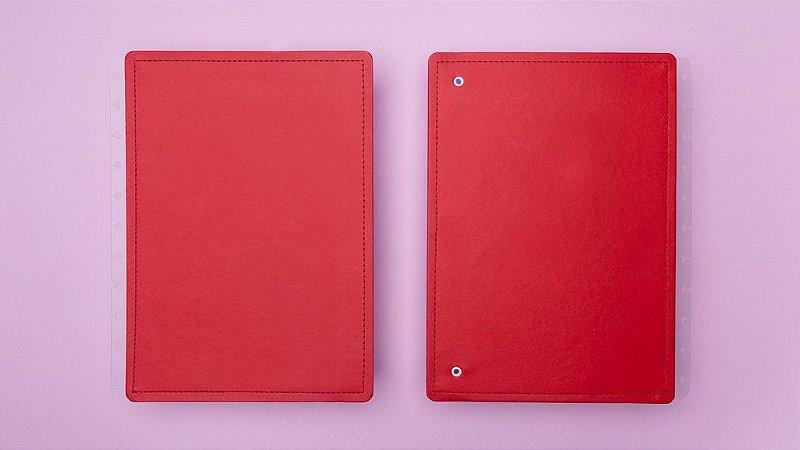 Capa e Contracapa Vermelho Cereja - Médio | Caderno Inteligente