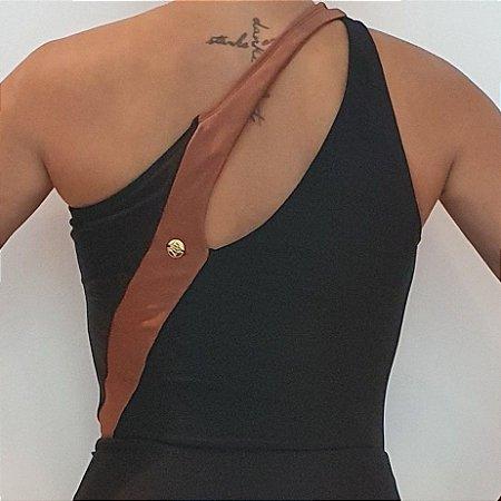 Body Ombro Decote Vazado Preto Bronze