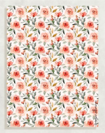 Papel Crepom Floral 02 - Vermelho - 30 unid