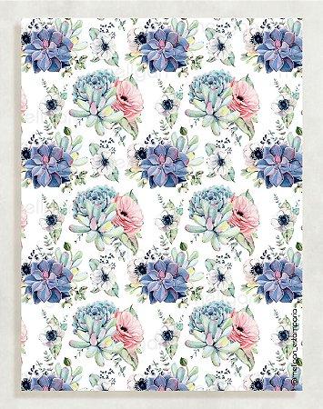 Papel Crepom Floral 04 - Suculenta - 30 unid