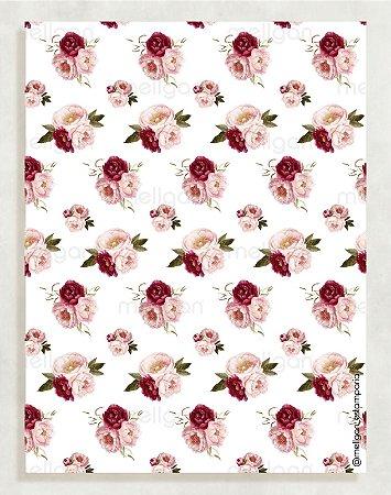 Papel Crepom Floral 05 - Marsala - 30 unid