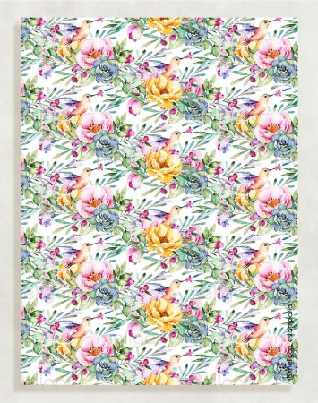 Papel Crepom Floral 09 - Beija-flor - 30 unid