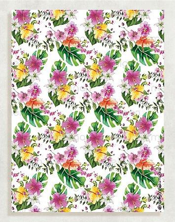 Papel Crepom Floral 11 - Tropical - 30 unid