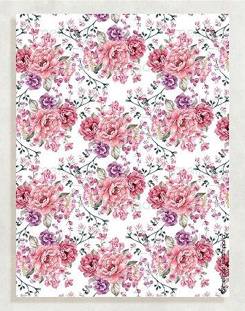 Papel Crepom Floral 14 - Rosa e lilás - 30 unid