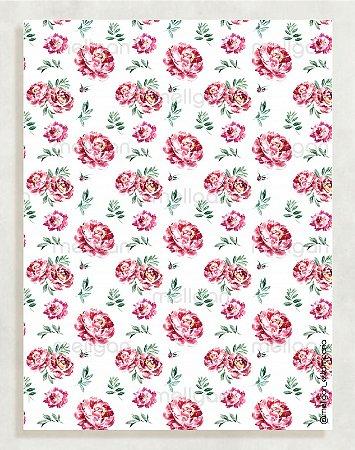 Papel Crepom Floral 15 - Marsala - 30 unid