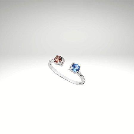 Anel com Abertura Frontal, Topázio, Rubelita e Diamantes
