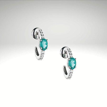 Brinco Esmeralda Oval e Diamantes