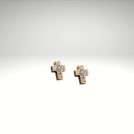 Brinco Cruz de Diamantes 7mm