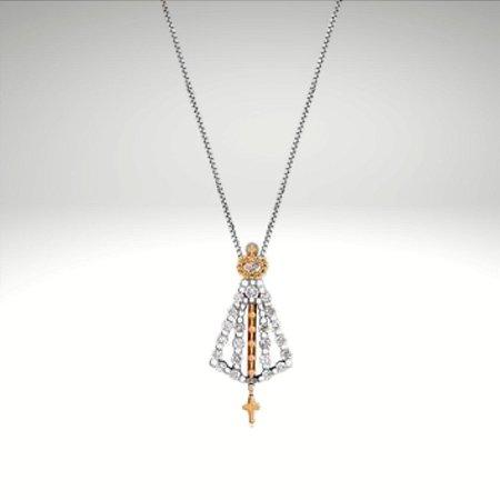 Pingente de Nossa Senhora em Diamantes e Corrente Veneziana