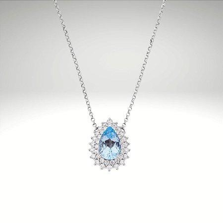 Gargantilha Topázio Azul em Gota e Diamantes