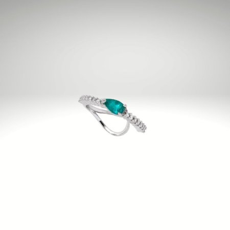 Piercing de Diamantes com Gota de Esmeralda