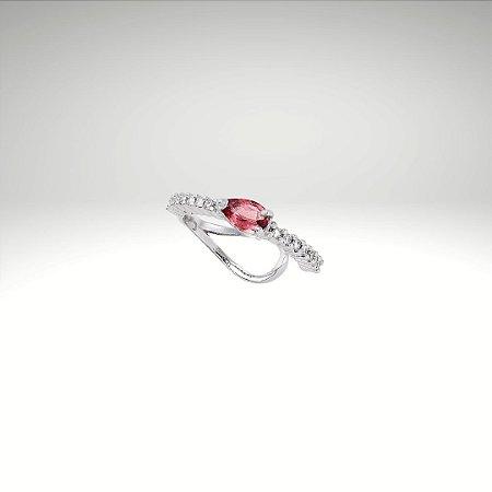 Piercing de Diamantes com Gota de Turmalina Rosa