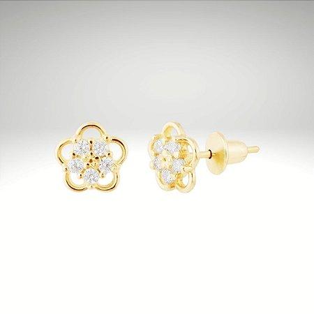 Brinco Flor I com Diamantes