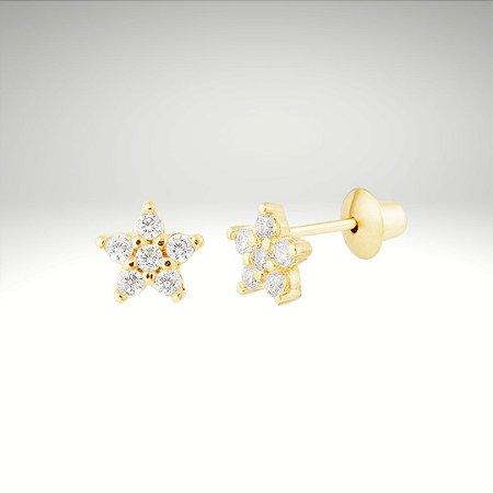 Brinco Flor de Hortênsia com Diamantes