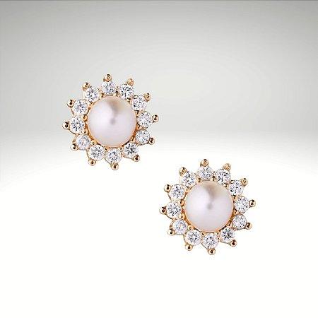 Brinco Princess Pérola e Diamantes