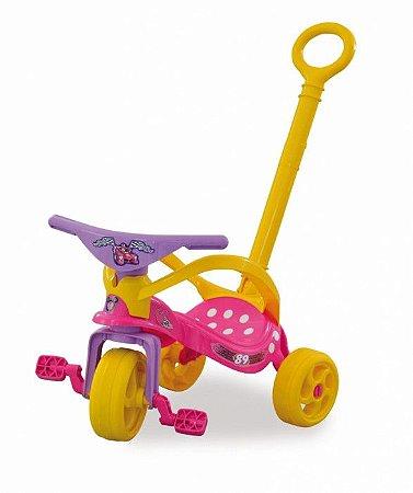 Triciclo com Empurrador e Proteção Minnie