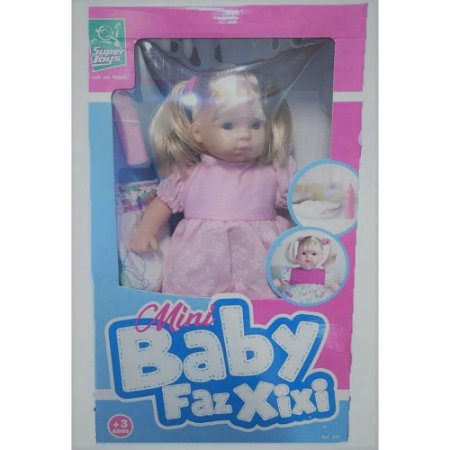 Boneca Mini Baby Faz Xixi 35cm 337 - Super Toys