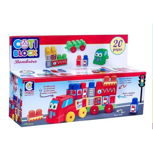 Brinquedo De Encaixar Coti Block Bombeiro Cotiplás