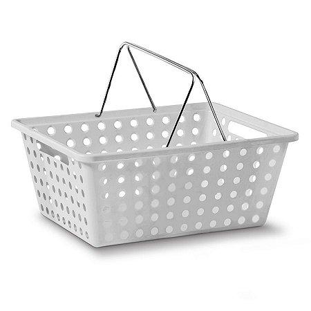 Cesta Organizadora Nº 2 Com 2 Alças Cromo - Branca - Niquelplast
