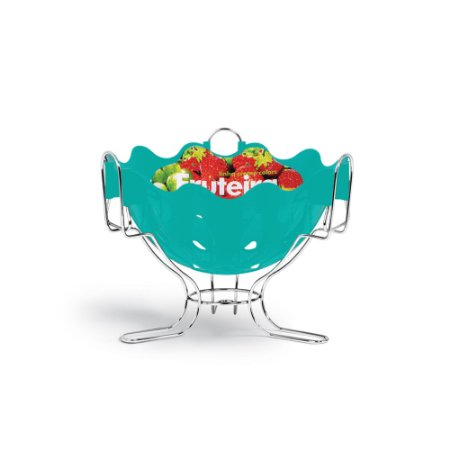 Fruteira de Mesa Cromo Azul Turquesa 3086 - Niquelplast