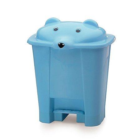 Lixeira cajovil urso com pedal azul