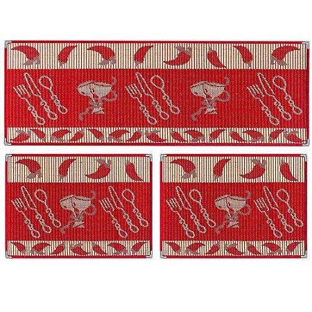 Kit Tapetes Sisllê Estampado Vermelho - Tapetes Lancer