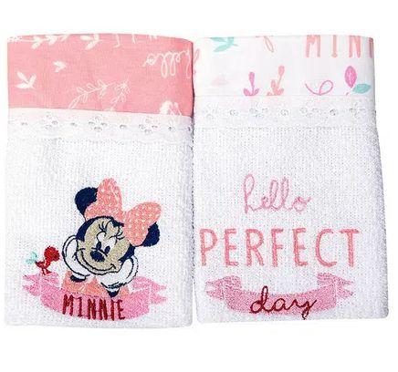 Babete Disney bordada 2 unidades Rosa Minasrey - Infantil