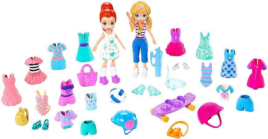 Polly Pocket Kit Grande Polly e Lila Moda Esportiva Mattel