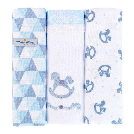 Kit 3 Cueiros Muito Mimo  Azul Rolinhos Minasrey- Infantil