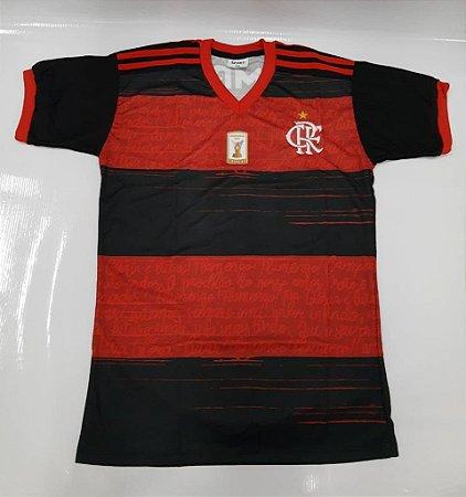 Camisa do Flamengo Baby Look Infantil Preto e Vermelho - Ginga