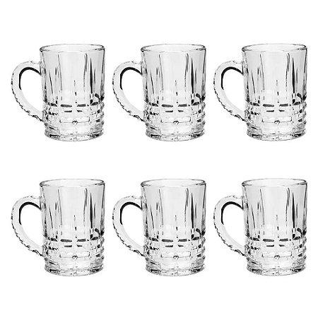 Conjunto 6 Canecas Para Cappuccino De Vidro Calcutá 172 ml - Coliseu