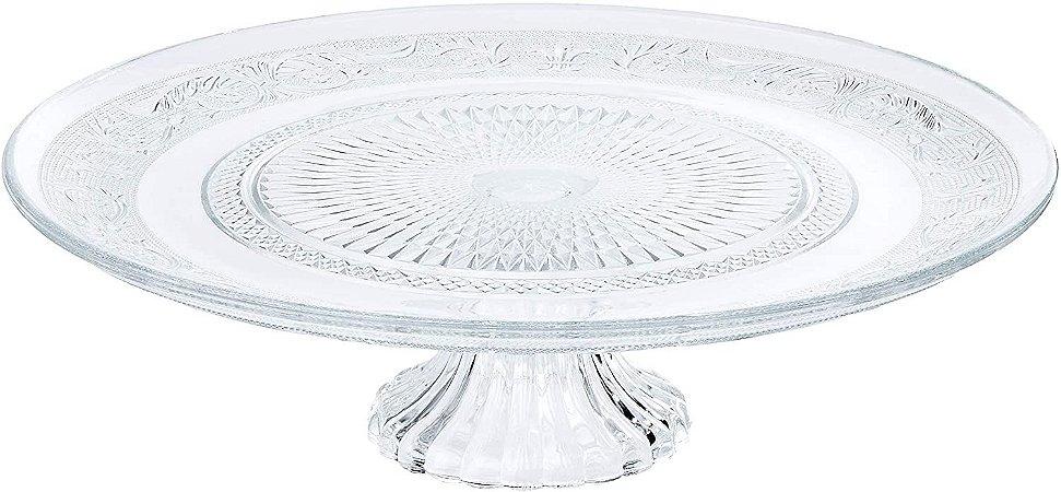 Prato Para Bolo Com Pé De Vidro Angel 32,5 cm x 9,5 cm - Coliseu