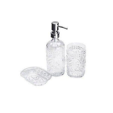 Conjunto Para Banheiro De Vidro Flor De Lis Transparente 3 Peças Lyor - Coliseu