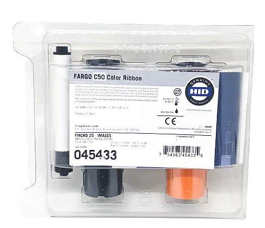 Fita de Impressão Colorida (YMCKO), 250 impressões REFIL p/ Fargo C50 (ribbon Fargo cód. 45433)