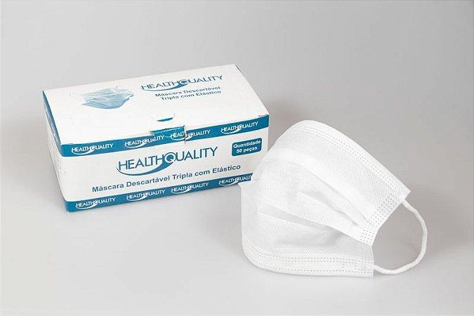 Máscara Cirúrgica Descartável Tripla com Elástico - 50 Unidades