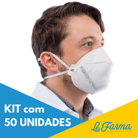 Kit 50 Unidades: Máscara PFF2 S de Proteção Facial Sem Válvula - Branca