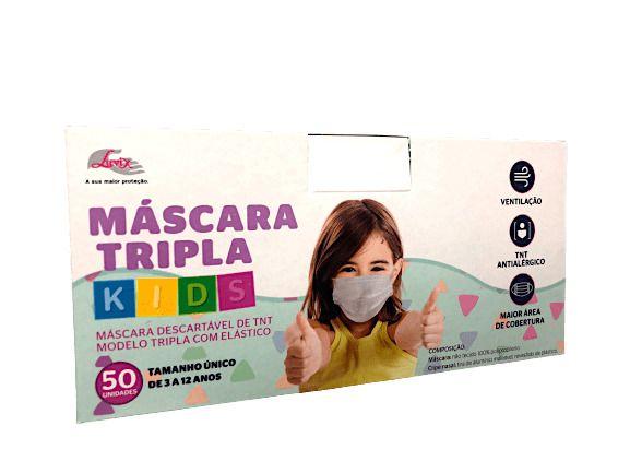 Máscara Descartável Infantil - 50 Unidades