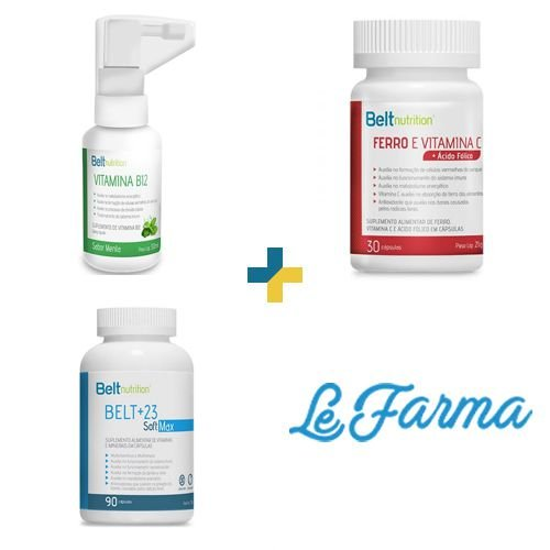 KIT: Belt Ferro, Vitamina C + Ácido Fólico & Belt 12 Metilcobalamina Spray Mais Menta & Belt+23 Soft Max