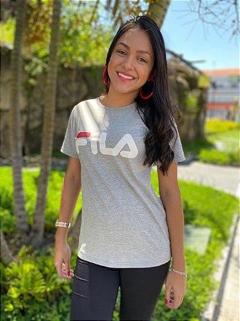 Camiseta Fila Basic Letter Feminina Cinza e Branco 948332