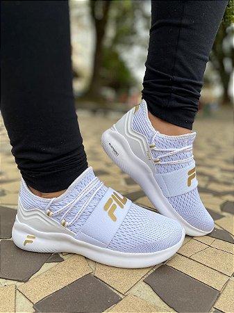 Tênis Fila Trend Feminino Branco e Dourado 948649