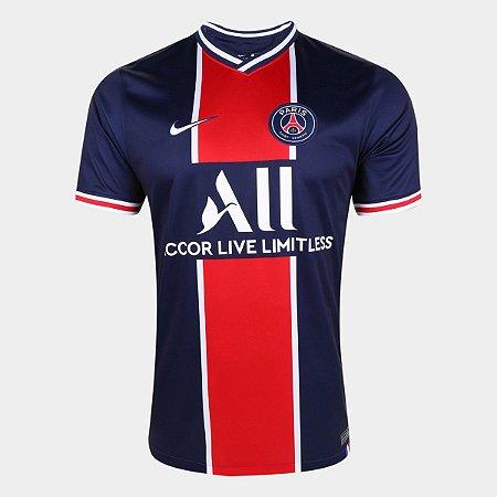 Camisa Paris Saint-Germain Home 20/21 s/n° Torcedor Nike Masculina Marinho e Branco CD4242-411