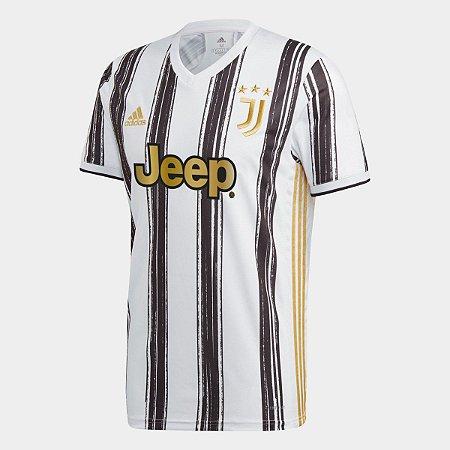 Camisa Juventus Home 20/21 s/nº Torcedor Adidas Masculina - Branco e Preto
