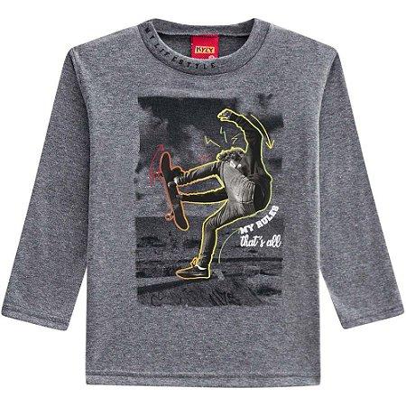 Kyly Camiseta Infantil Masculina Manga Longa 207.191 Cor Cinza