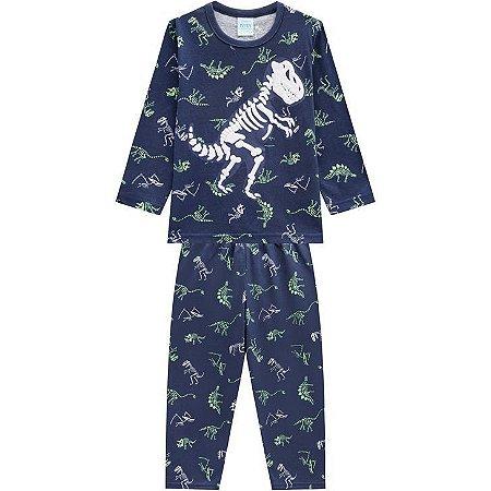Kyly Pijama Inf Masc Ml 207.253 Cor Azul Marinho