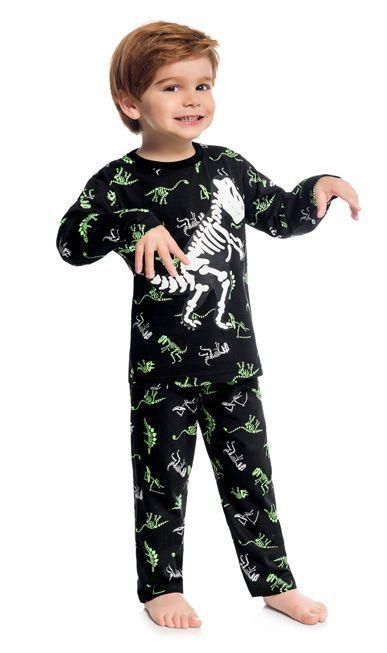 Kyly Pijama Inf Masc Ml 207.253 Cor Preto