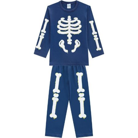 Kyly Pijama Inf Masc Ml 207.251 Cor Azul Marinho